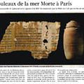 Le Figaro - les rouleaux de la mer Morte à Paris - 13/04/2010