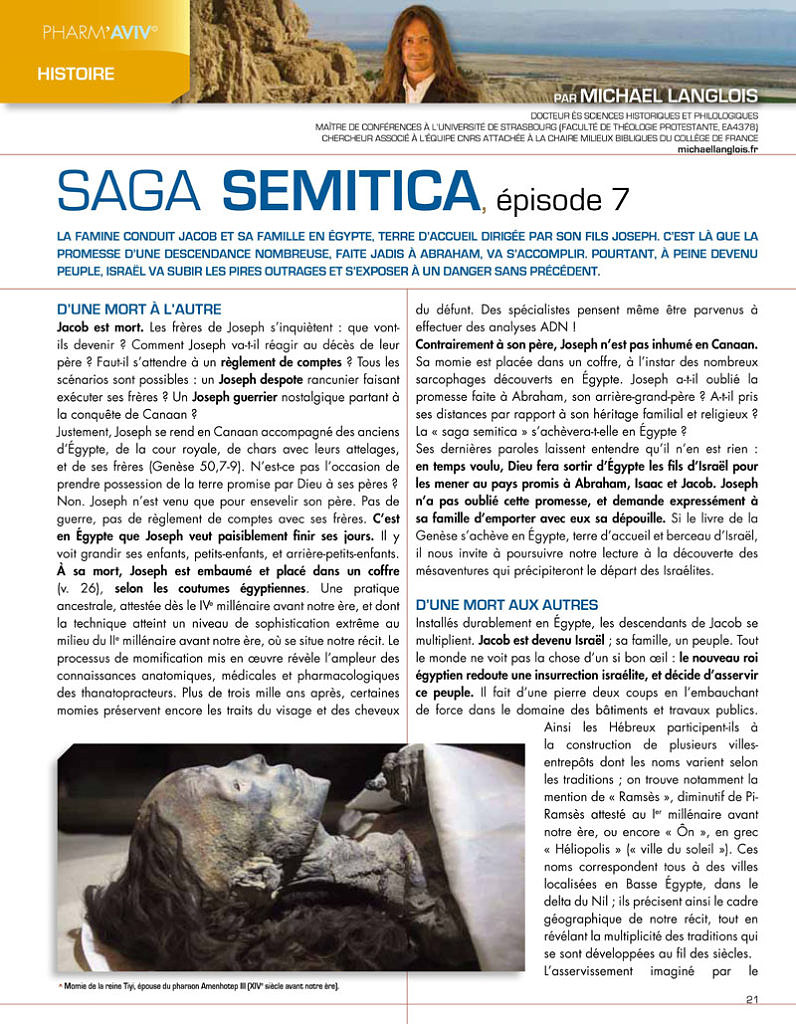 Michael Langlois, Saga Semitica 7,  Pharm'Aviv 133, p. 21-23