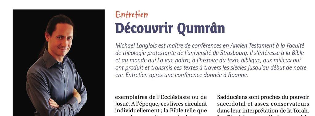 Découvrir Qumrân, Réveil, mai 2015, p33