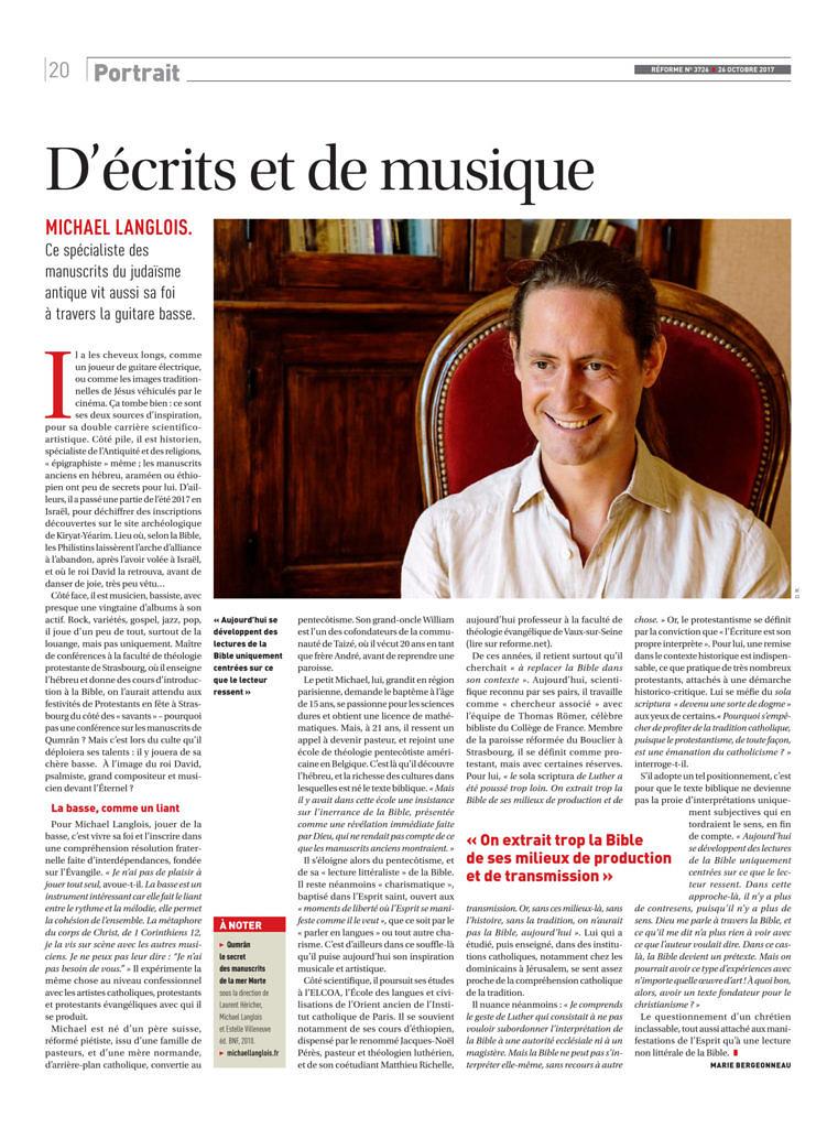 thumbnail of D'écrits et de musique, Réforme 3726, 26 octobre 2017, p. 20